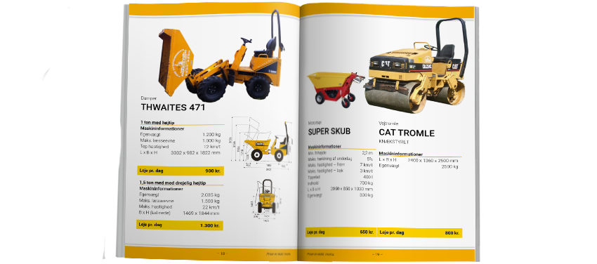 Catalog: Pictures of machines and information details