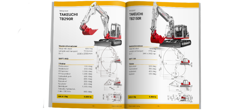 Catalog: Machine details and technical drawings